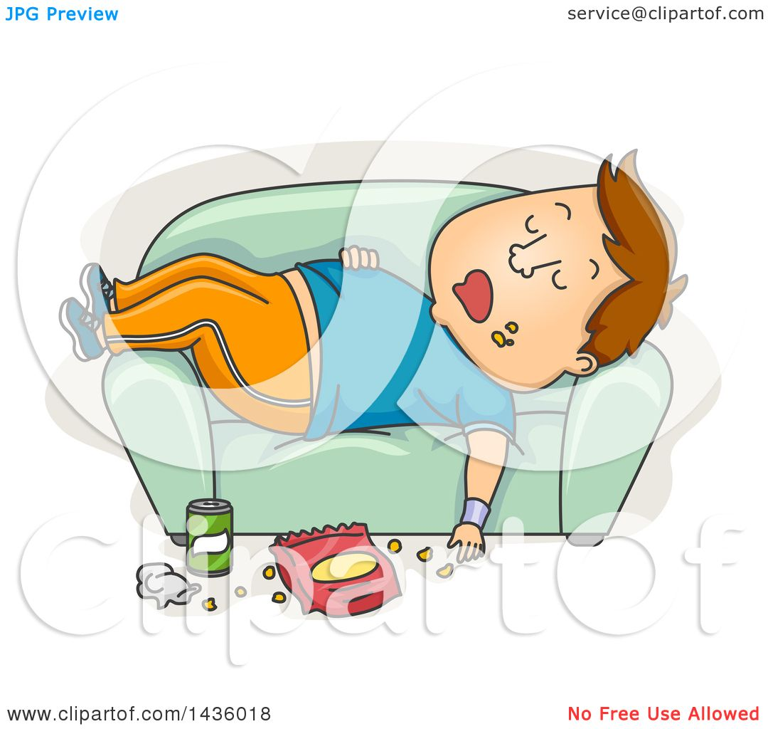 Clipart of a Cartoon Fat Brunette White Man in Workout ...