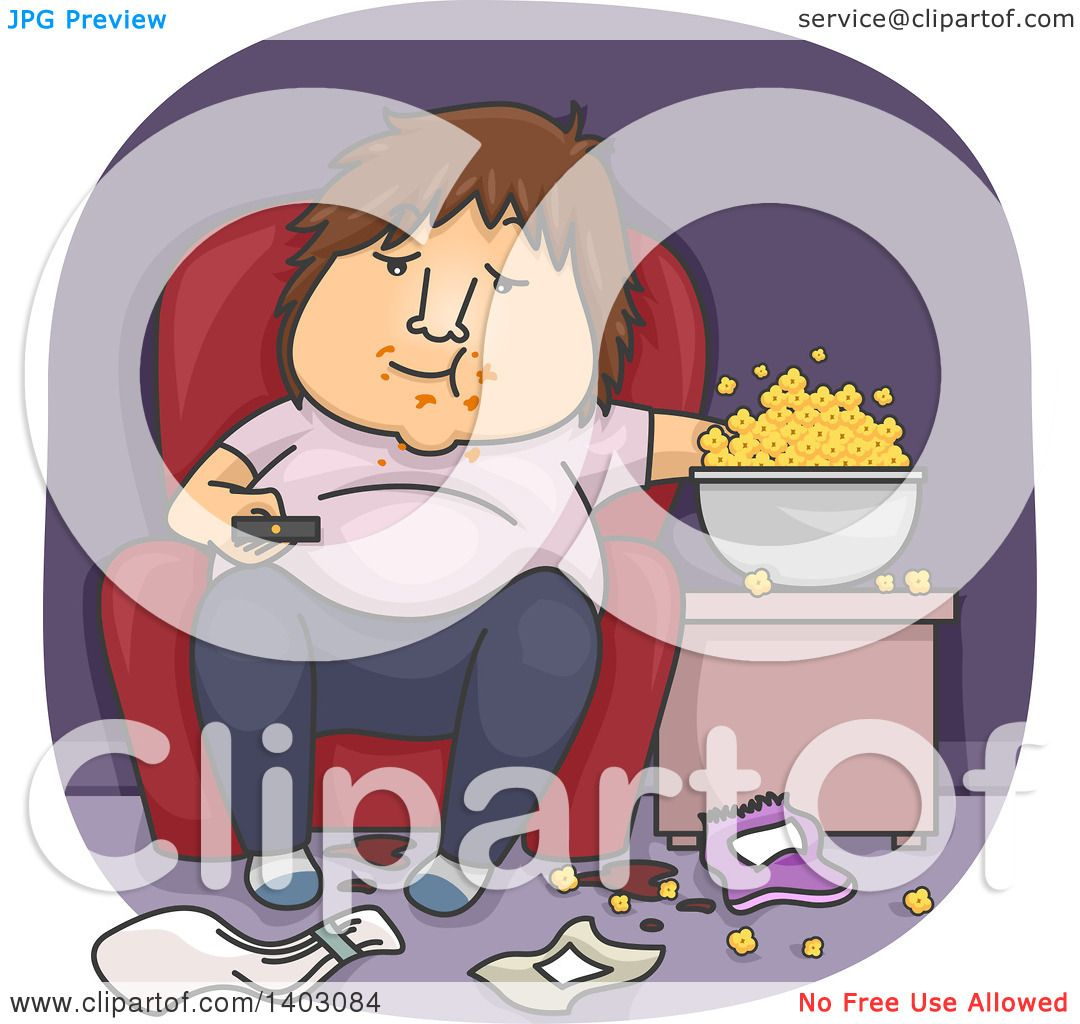 Clipart Of A Cartoon Fat White Man Eating Popcorn In Messy Living Room And Watching Tv