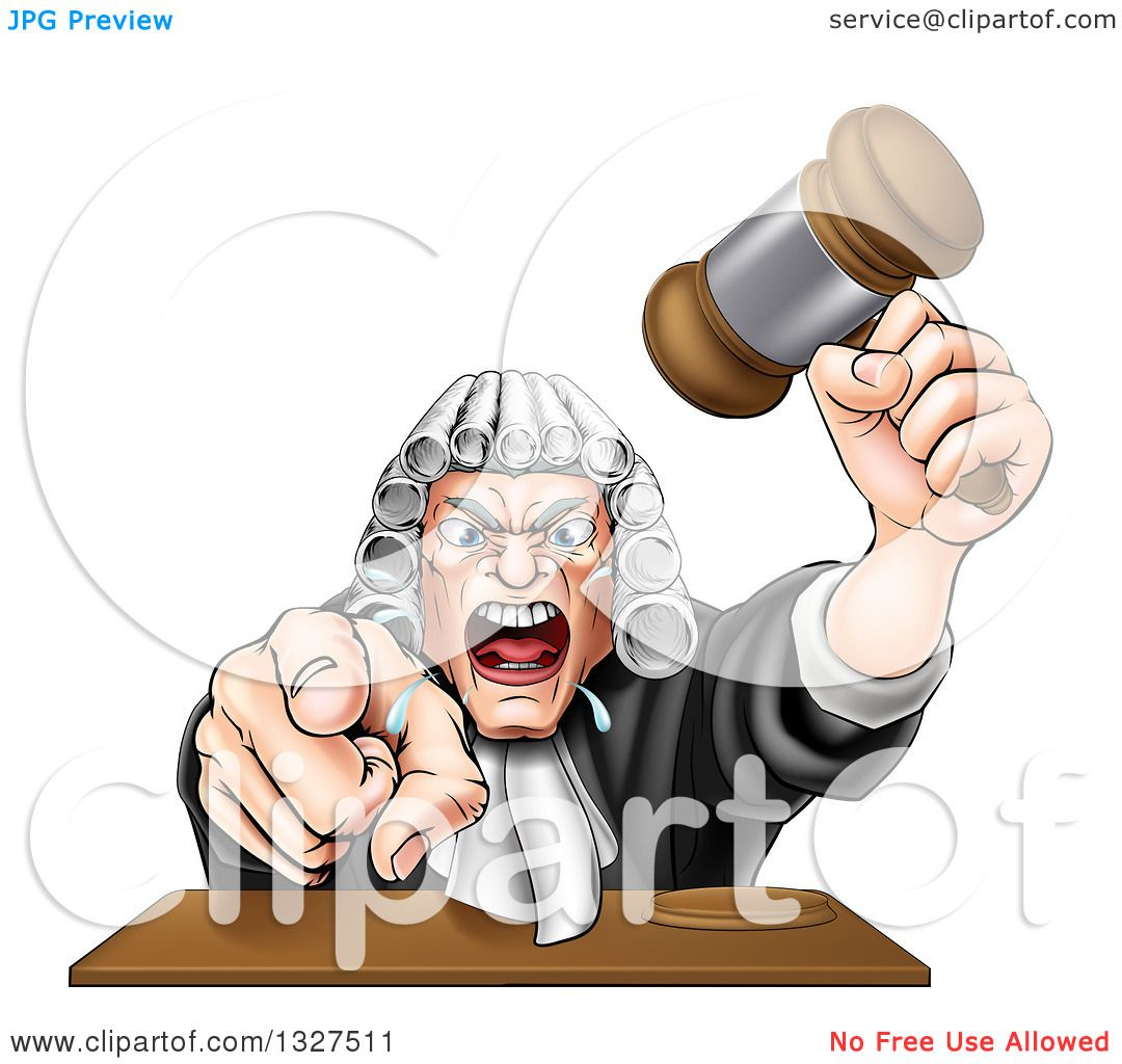 Clipart of a Cartoon Fierce Angry White Male Judge Spitting ...