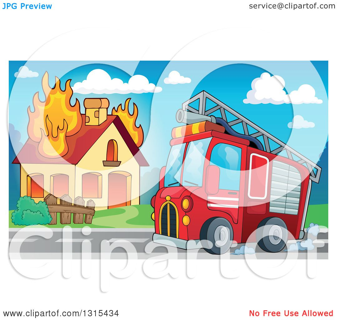 Clipart of a Cartoon Fire Engine Truck by a Burning House