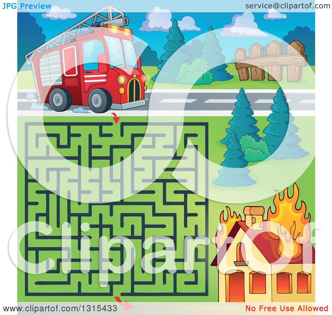 Clipart of a Cartoon Fire Engine Truck Maze and Burning House ...