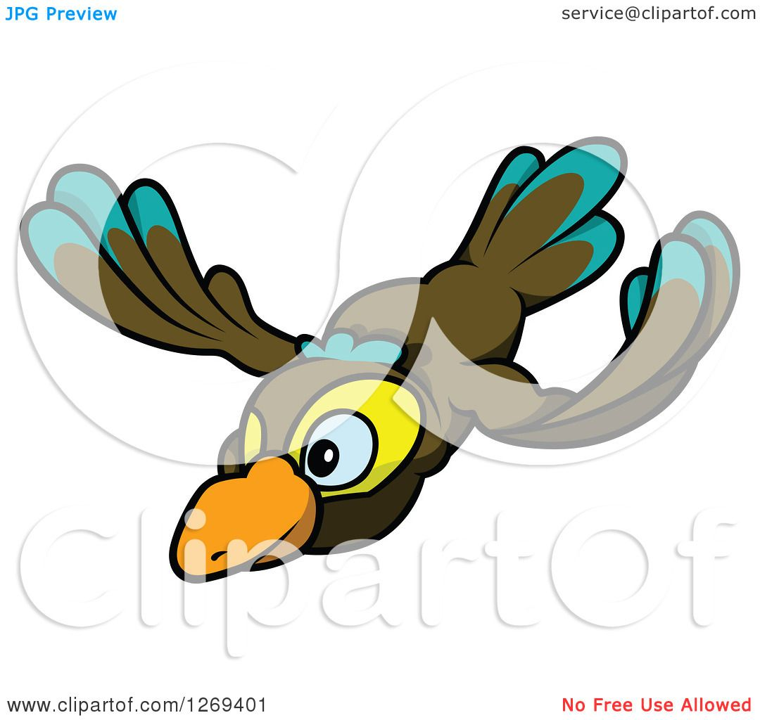 Flying Quail Clipart Clipart of a Cartoon Flying