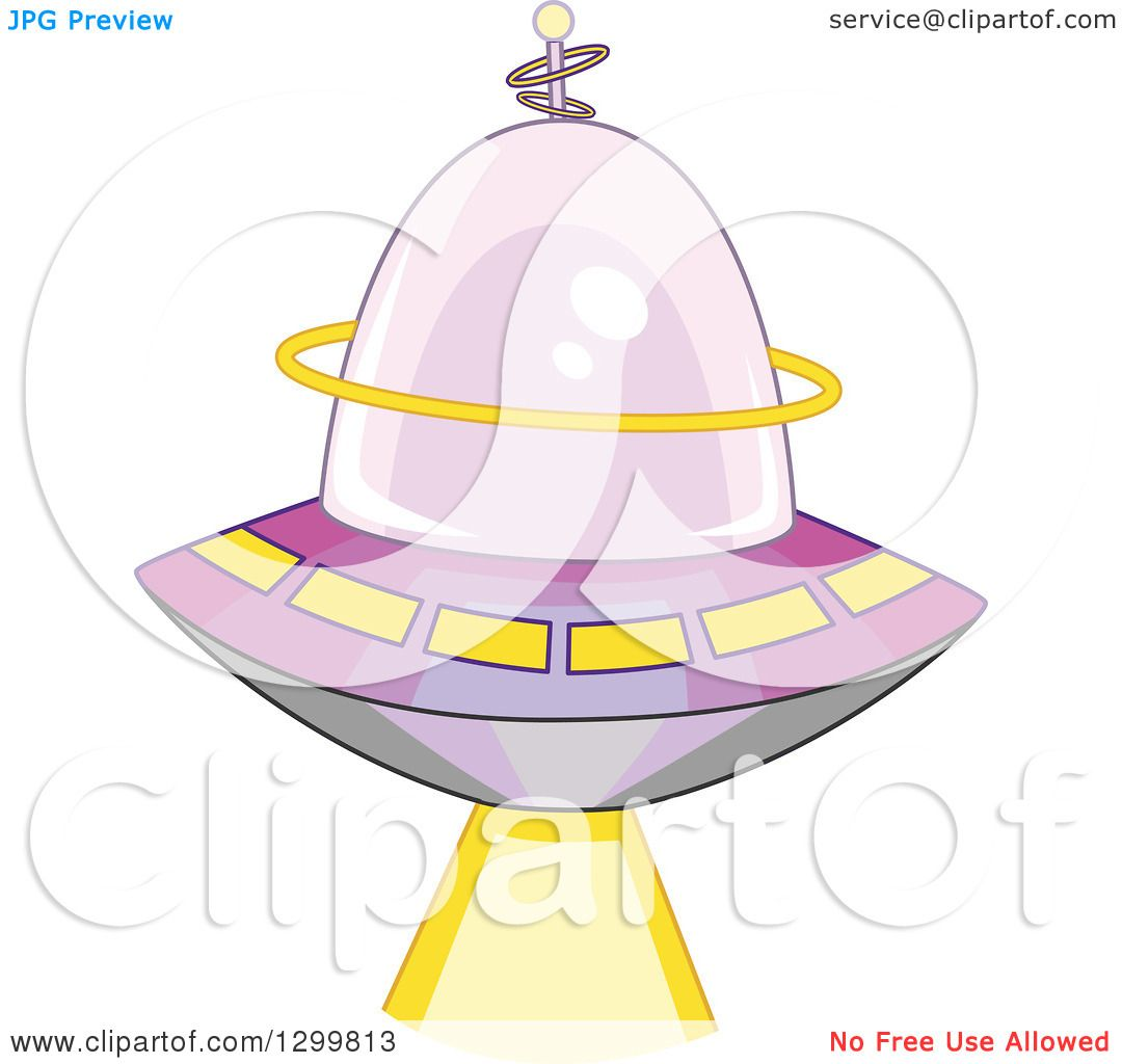 Clipart of a Cartoon Flying Ufo Shining a Beam - Royalty Free Vector ...