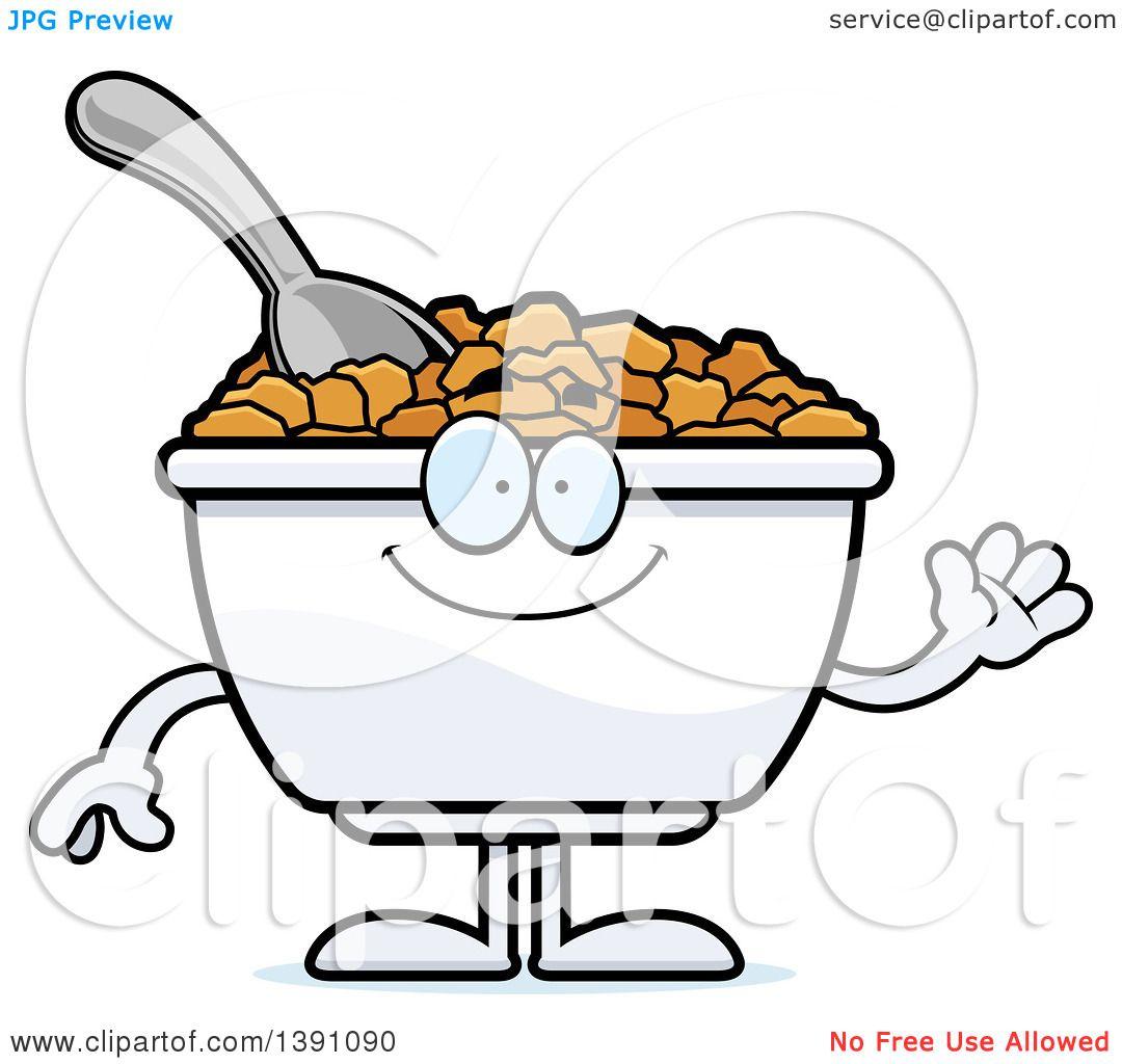 Clipart of a Cartoon Friendly Waving Bowl of Corn Flakes Breakfast ...