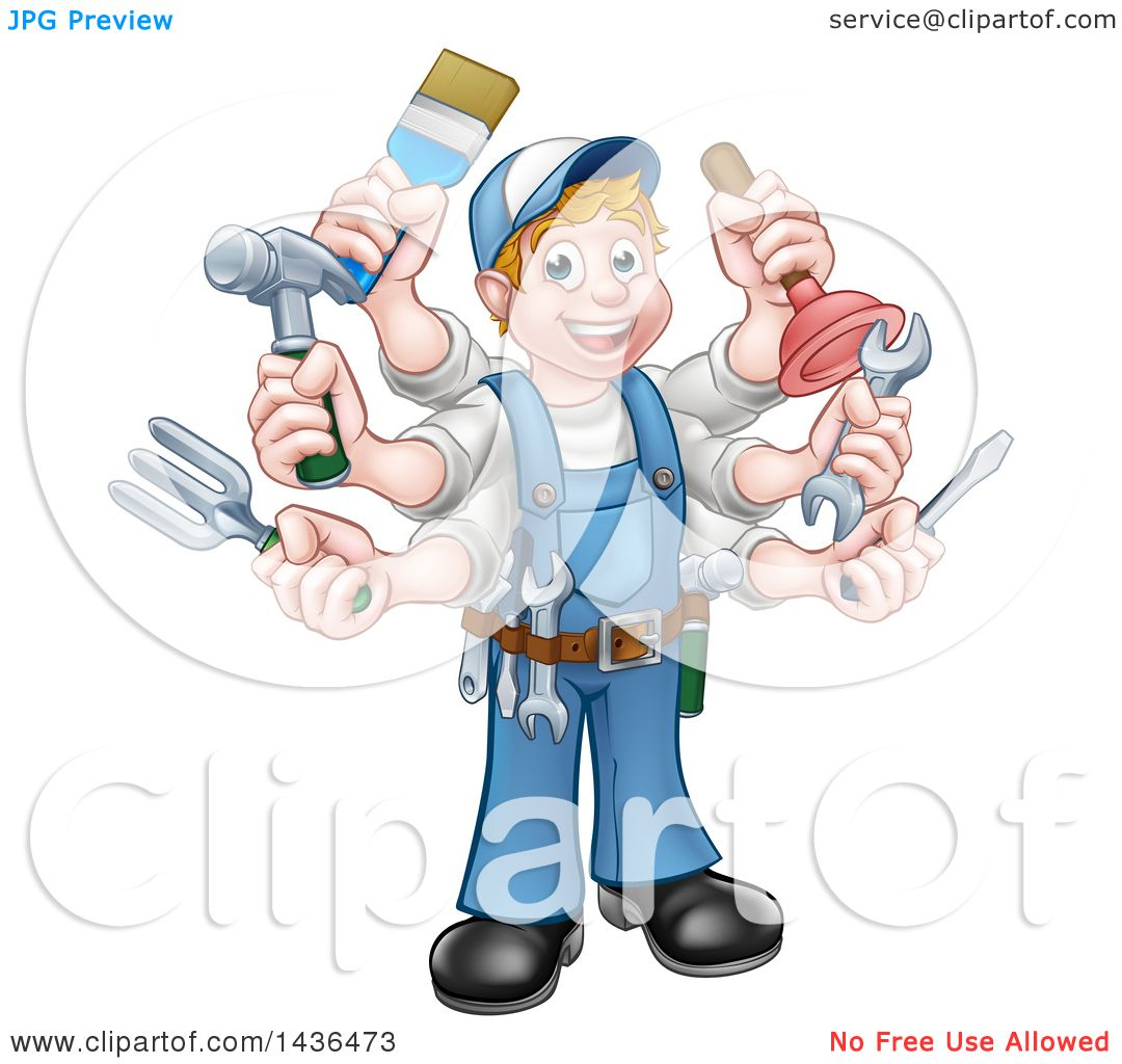 clipart of a cartoon full length happy white handy man with six