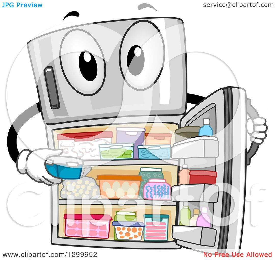 Clipart of a cartoon fully stocked refrigerator character - Clipart illustration ...