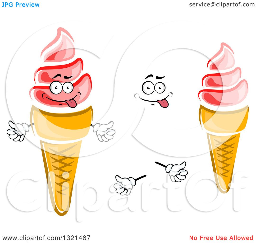 Clipart of a Cartoon Goofy Face, Hands and Pink Strawberry ... Cartoon Waffle With Face