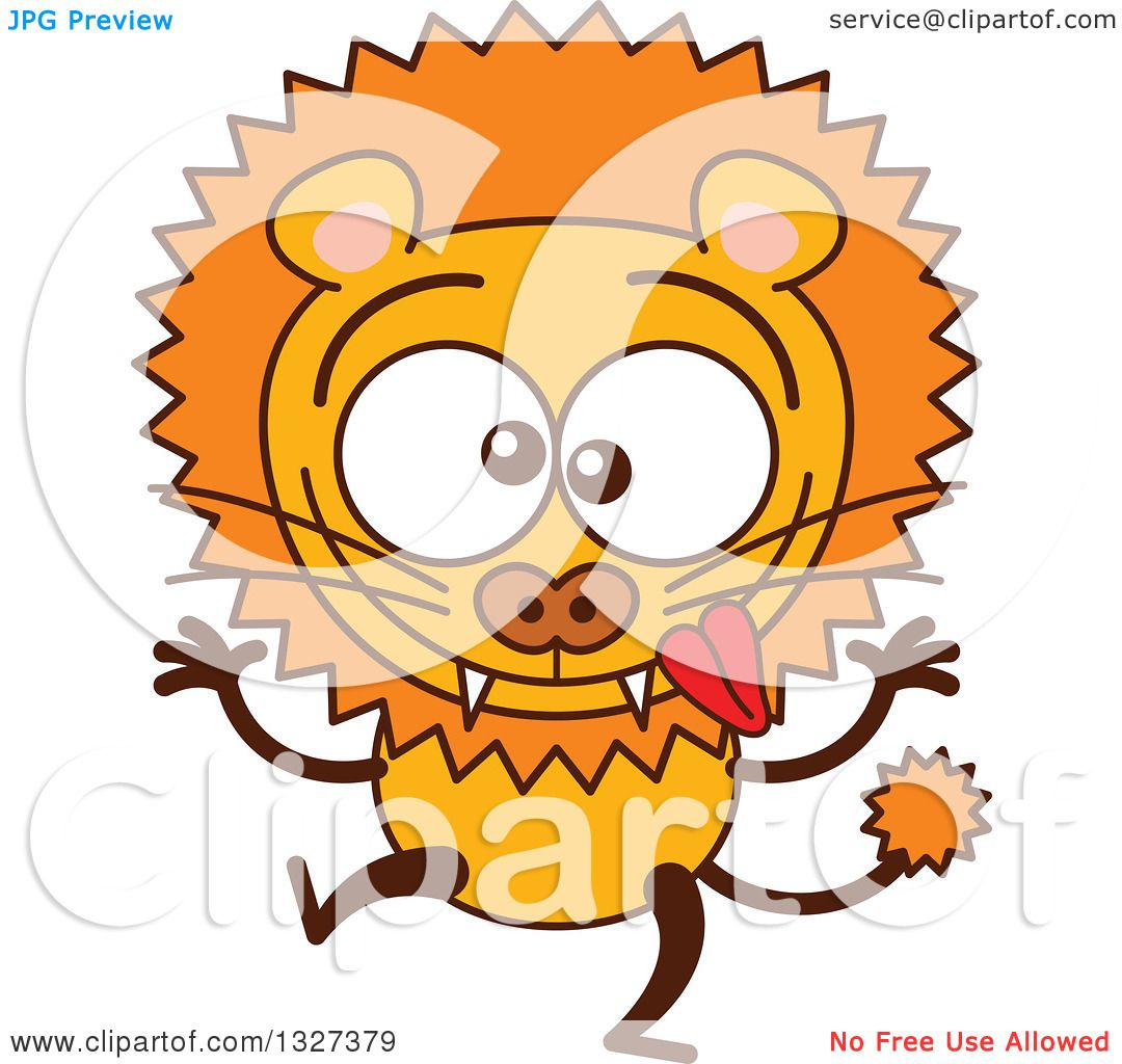 Clipart of a Cartoon Goofy Male Lion Making Funny Faces ...