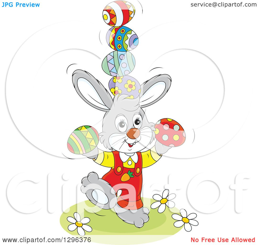 Clipart of a Cartoon Gray Easter