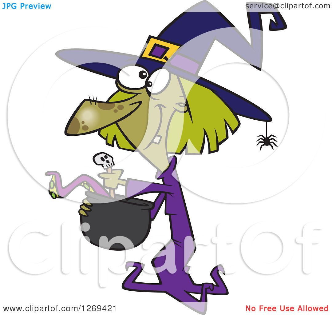 lineart clipart of a black and white cartoon happy female witch