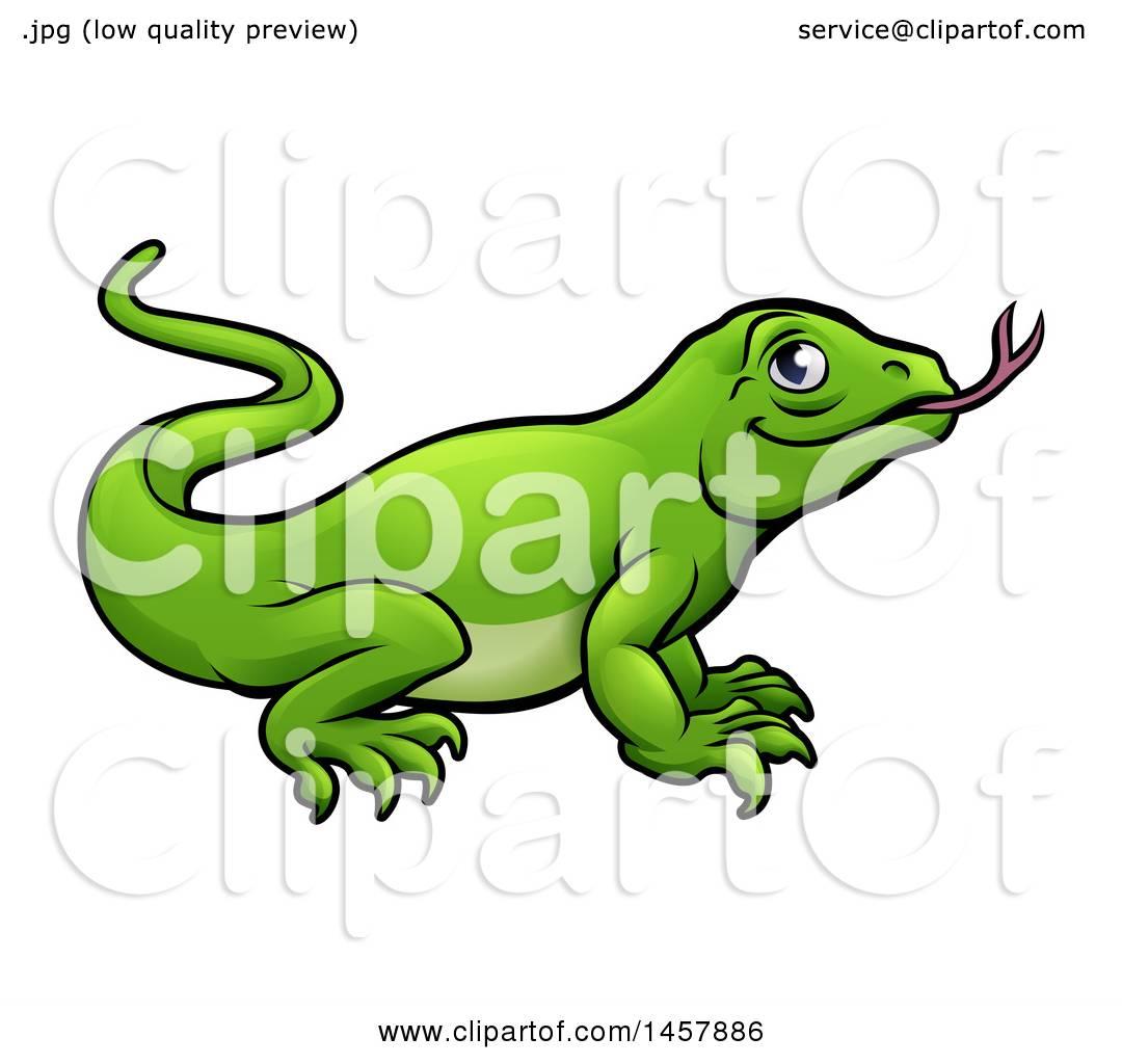 Clipart of a Cartoon Green Komodo Dragon Lizard - Royalty Free ...