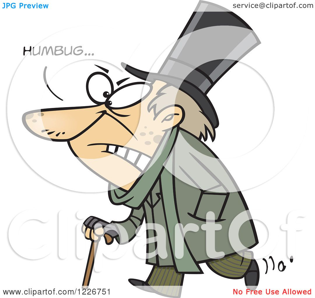 Clipart Cartoon Grumpy Scrooge Saying Humbug Royalty Free