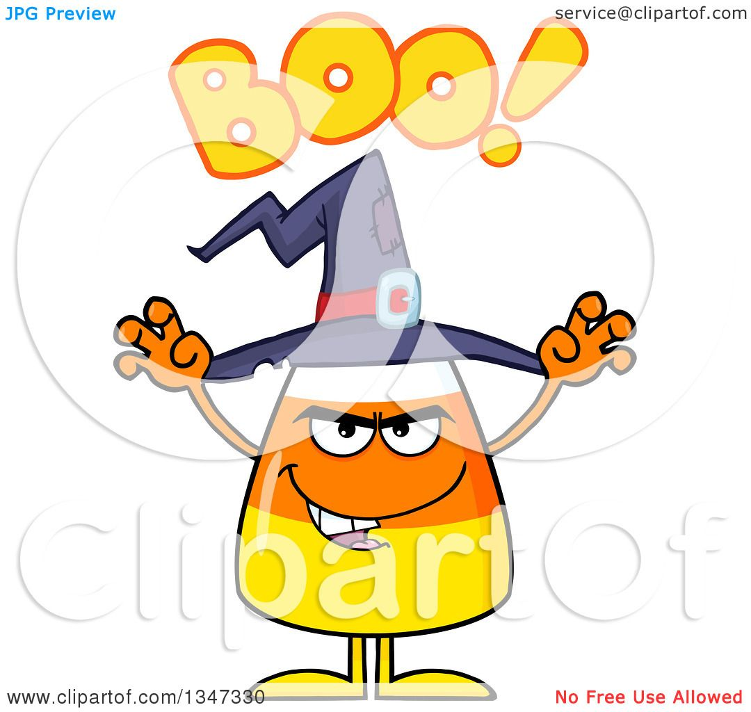 Clipart Of A Cartoon Halloween Candy Corn Character Wearing A Witch Hat, Saying  Boo And Looking Scary   Royalty Free Vector Illustration By Hit Toon