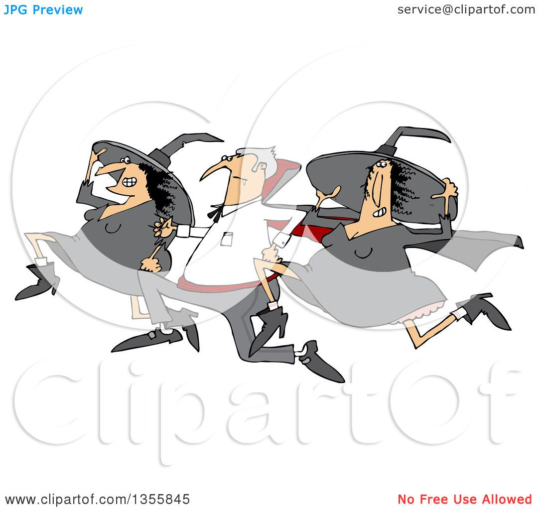 clipart of a cartoon halloween vampire running with witches