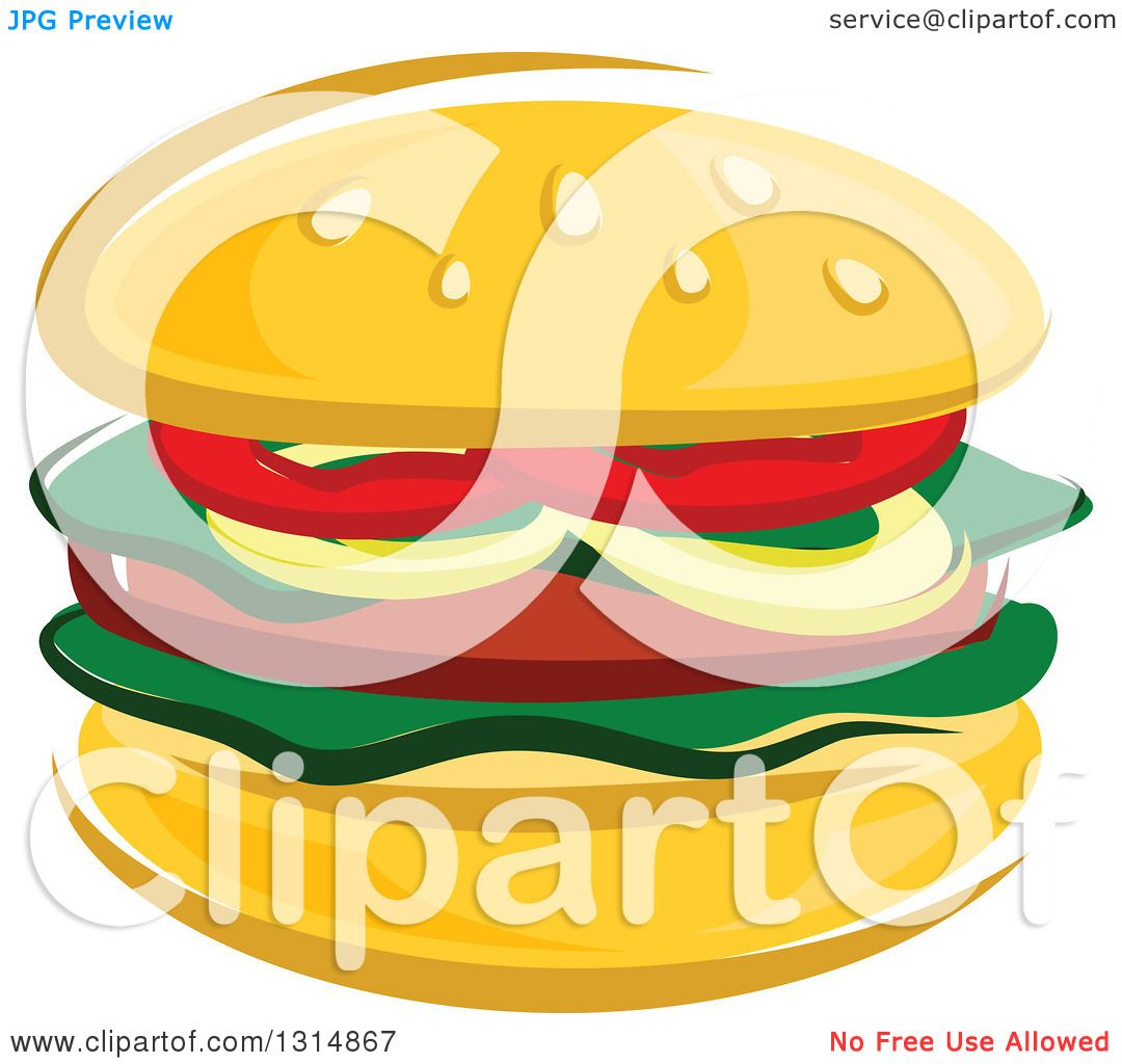Clipart of a Cartoon Hamburger - Royalty Free Vector Illustration ...