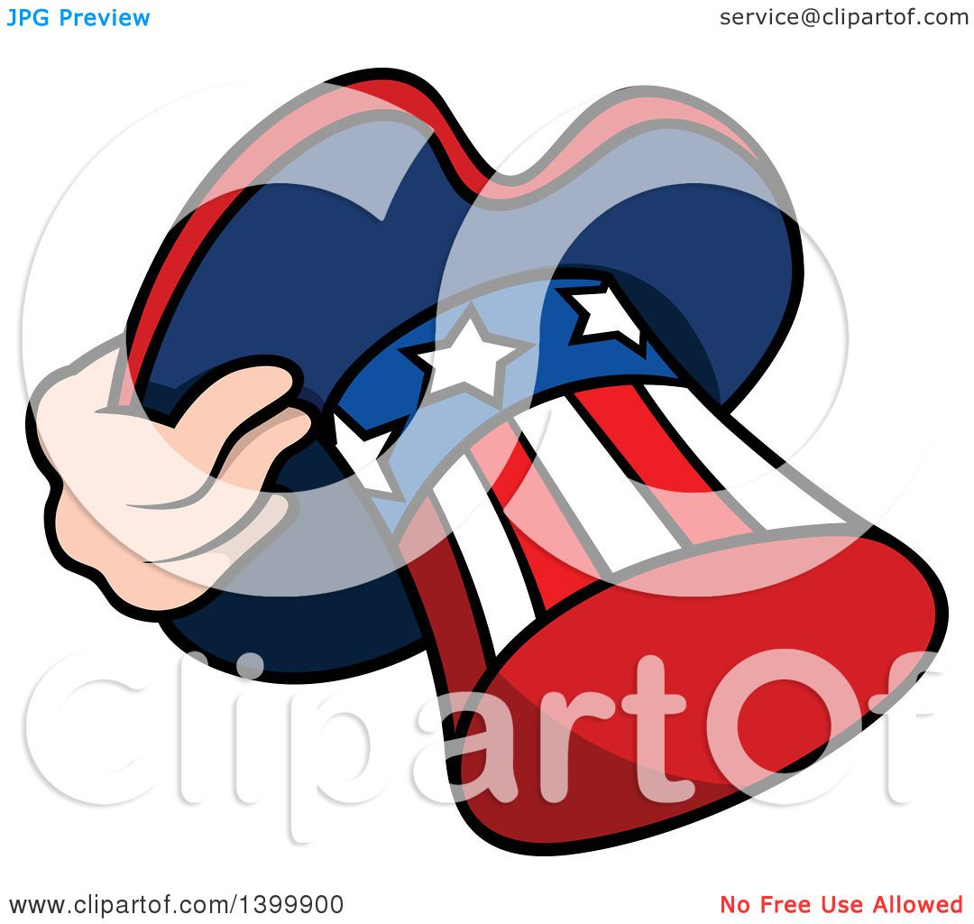 clipart of a cartoon hand holding a patriotic american top hat like rh clipartof com Uncle Sam We Want You Uncle Sam Cartoon