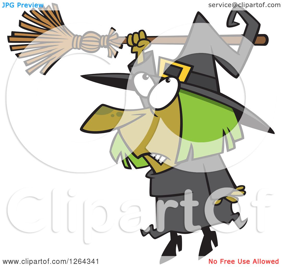 clipart of a cartoon hapless halloween witch hanging from her