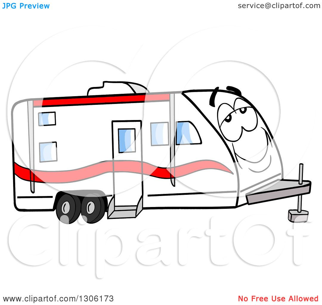 Clipart Of A Cartoon Happy And Relaxed Camper Trailer Character