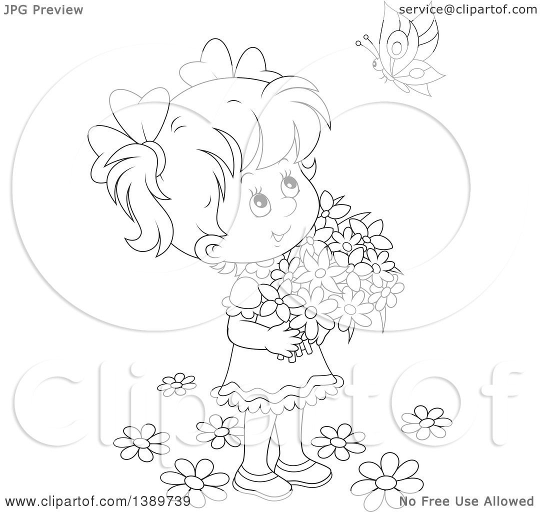 clipart girl holding flowers - photo #50