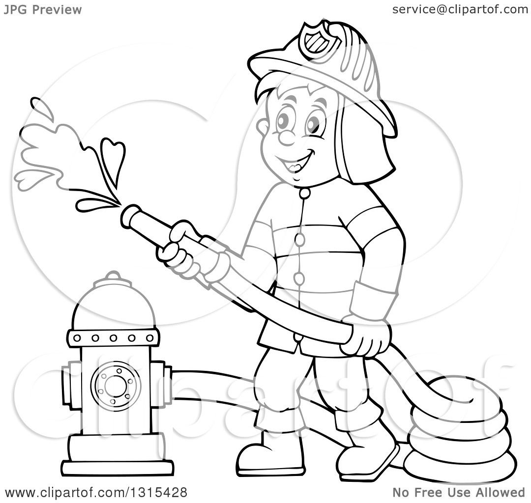 Firefighter Clipart Black And White