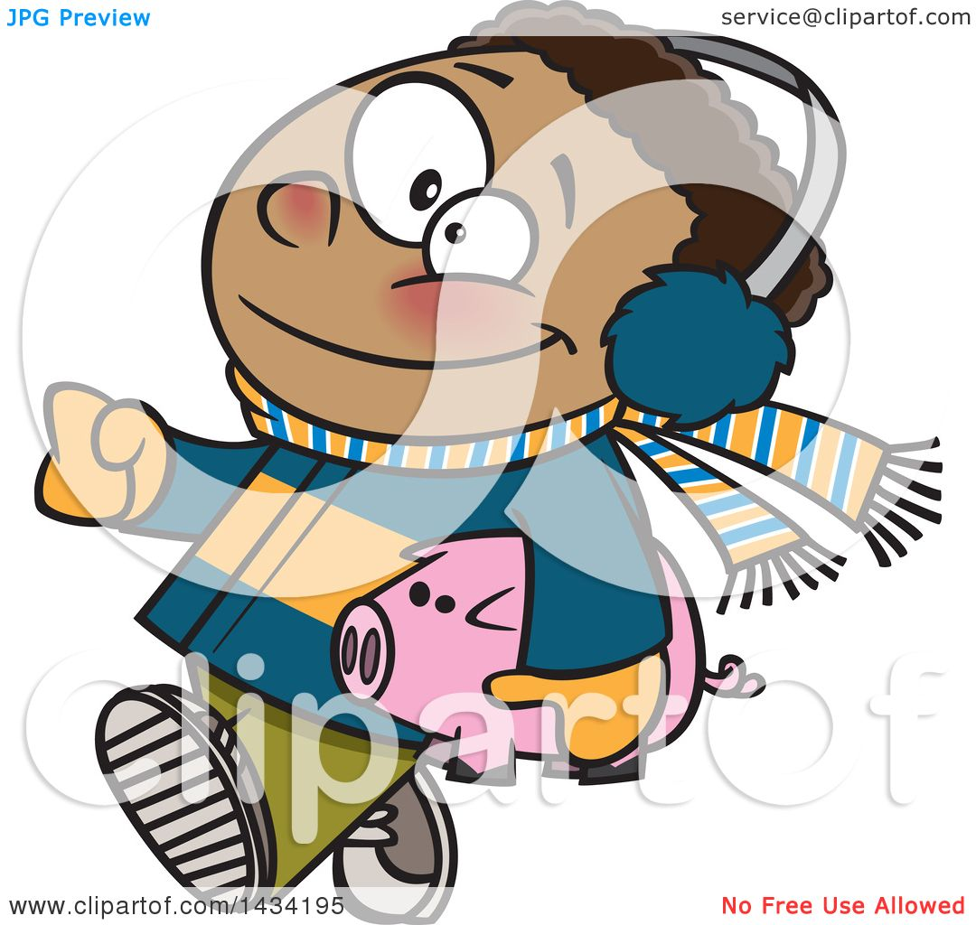 Clipart Of A Cartoon Happy Black Boy In Winter Clothes Carrying His Piggy Bank To Go Christmas Shopping