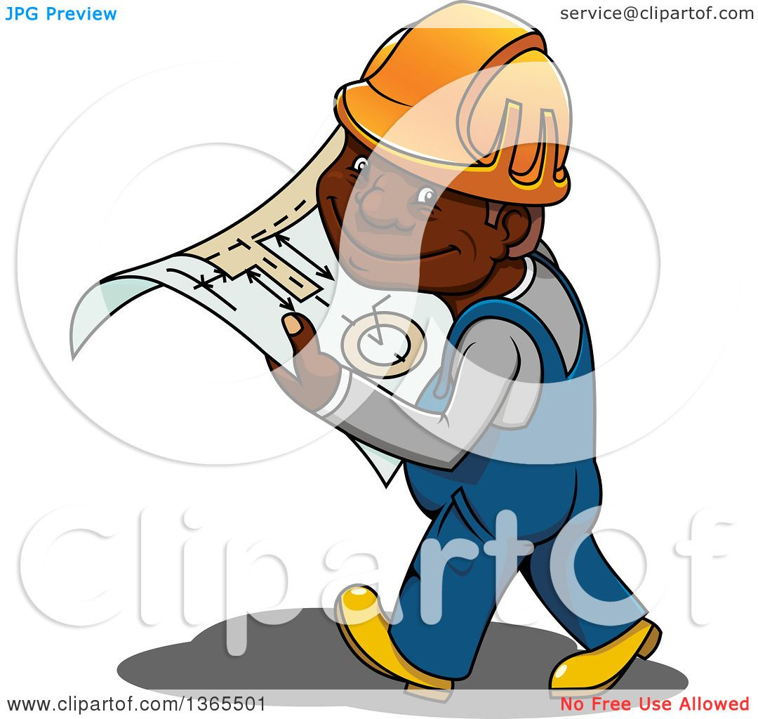 Clipart Of A Cartoon Happy Black Male Construction Worker