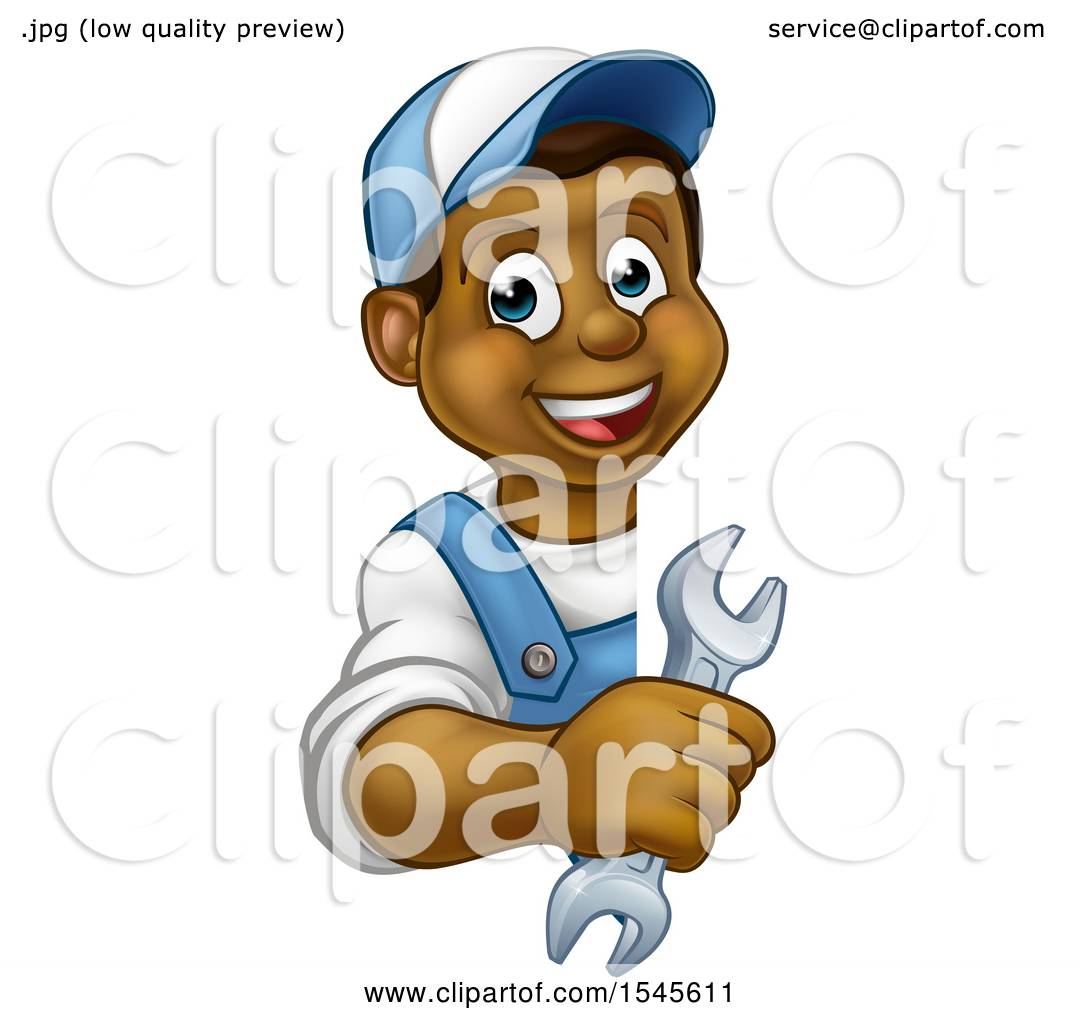 Clipart of a Cartoon Happy Black Male Plumber Holding a Spanner ...