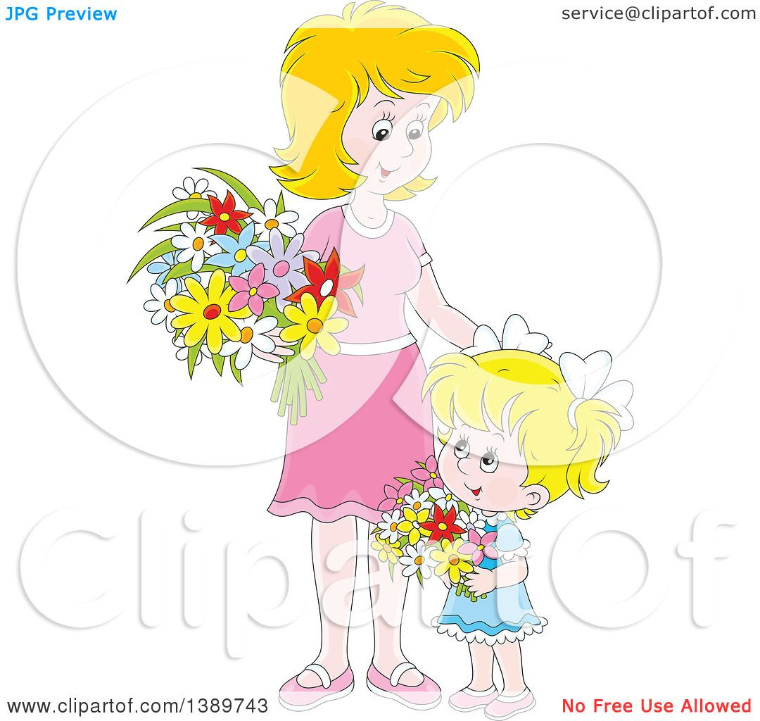 Clipart Of A Cartoon Happy Blond White Girl And Mother