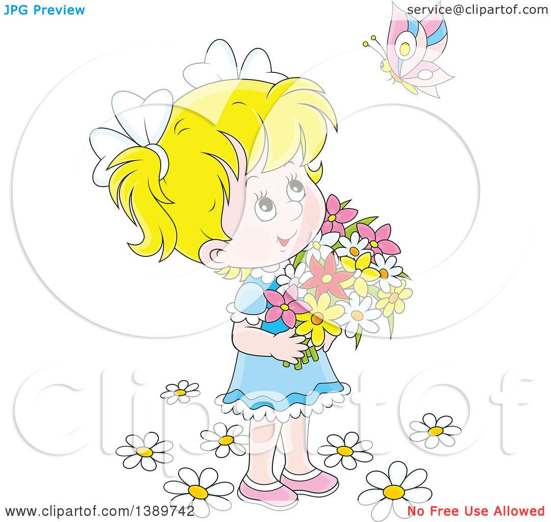 clipart girl holding flowers - photo #42