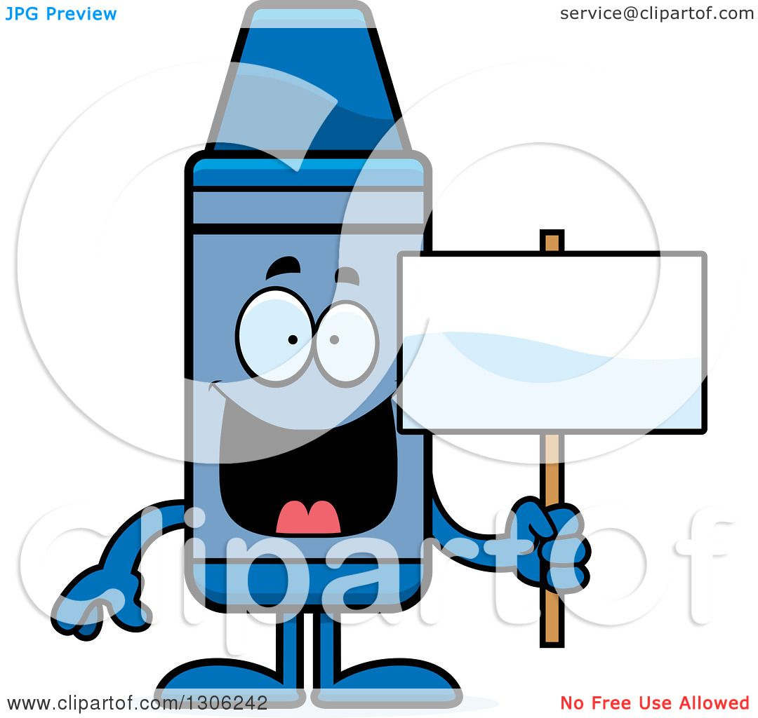 Clipart of a Cartoon Happy Blue Crayon Character Holding a Blank ... for Clipart Blue Crayon  103wja