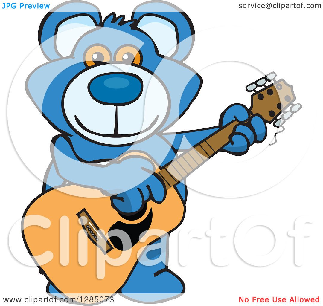 clipart of a cartoon happy blue teddy bear playing an. Black Bedroom Furniture Sets. Home Design Ideas