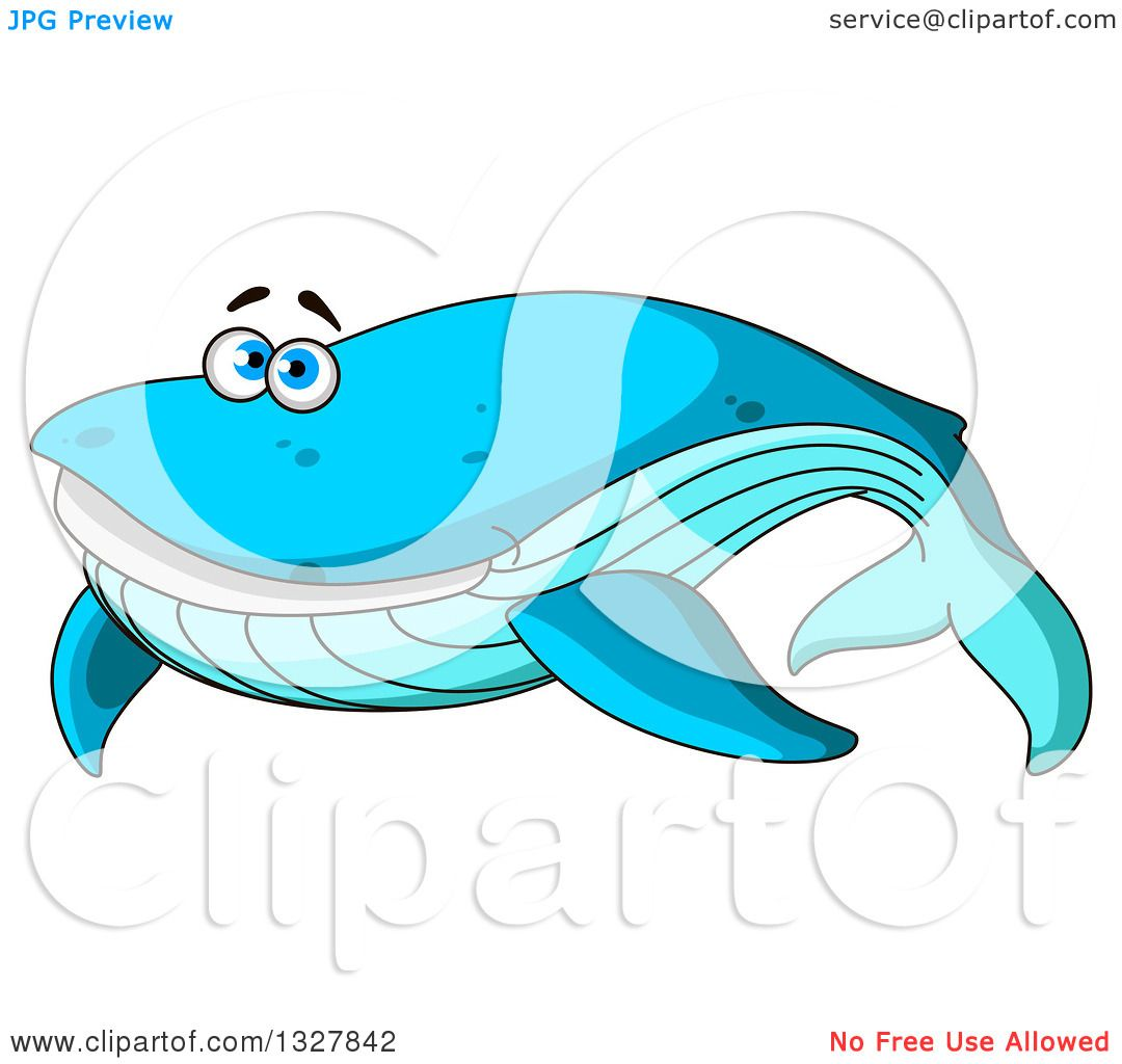 Clipart of a Cartoon Happy Blue Whale - Royalty Free ...