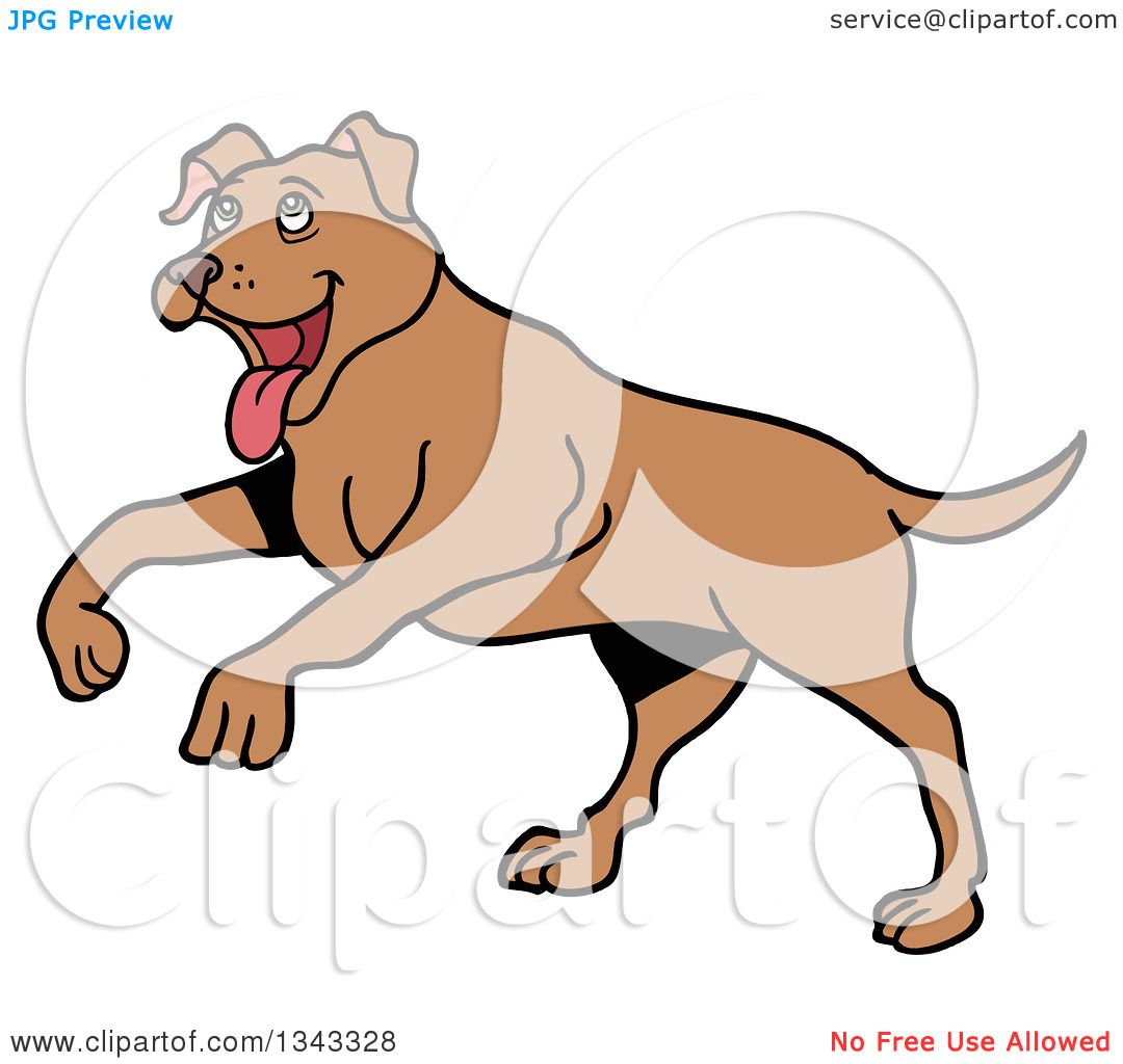 clipart of a cartoon happy brown pitbull dog playing