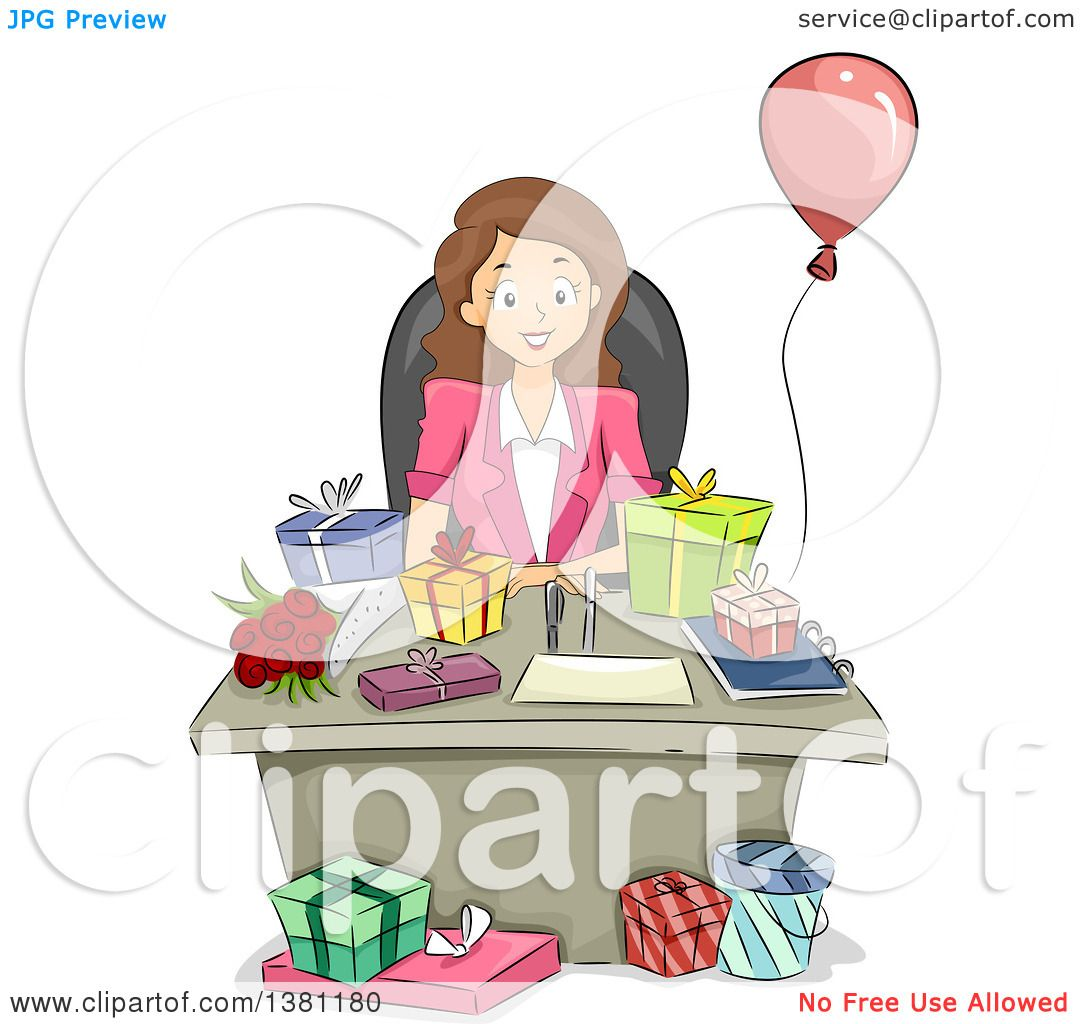 Clipart Of A Cartoon Happy Brunette Caucasian Business Woman With Birthday Gifts On Her Desk Royalty Free Vector Illustration By Bnp Design Studio 1381180