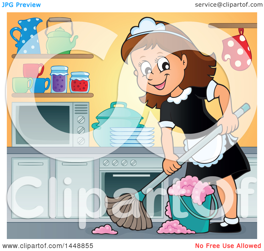 Clipart of a Cartoon Happy Brunette Maid Mopping a Kitchen - Royalty ...