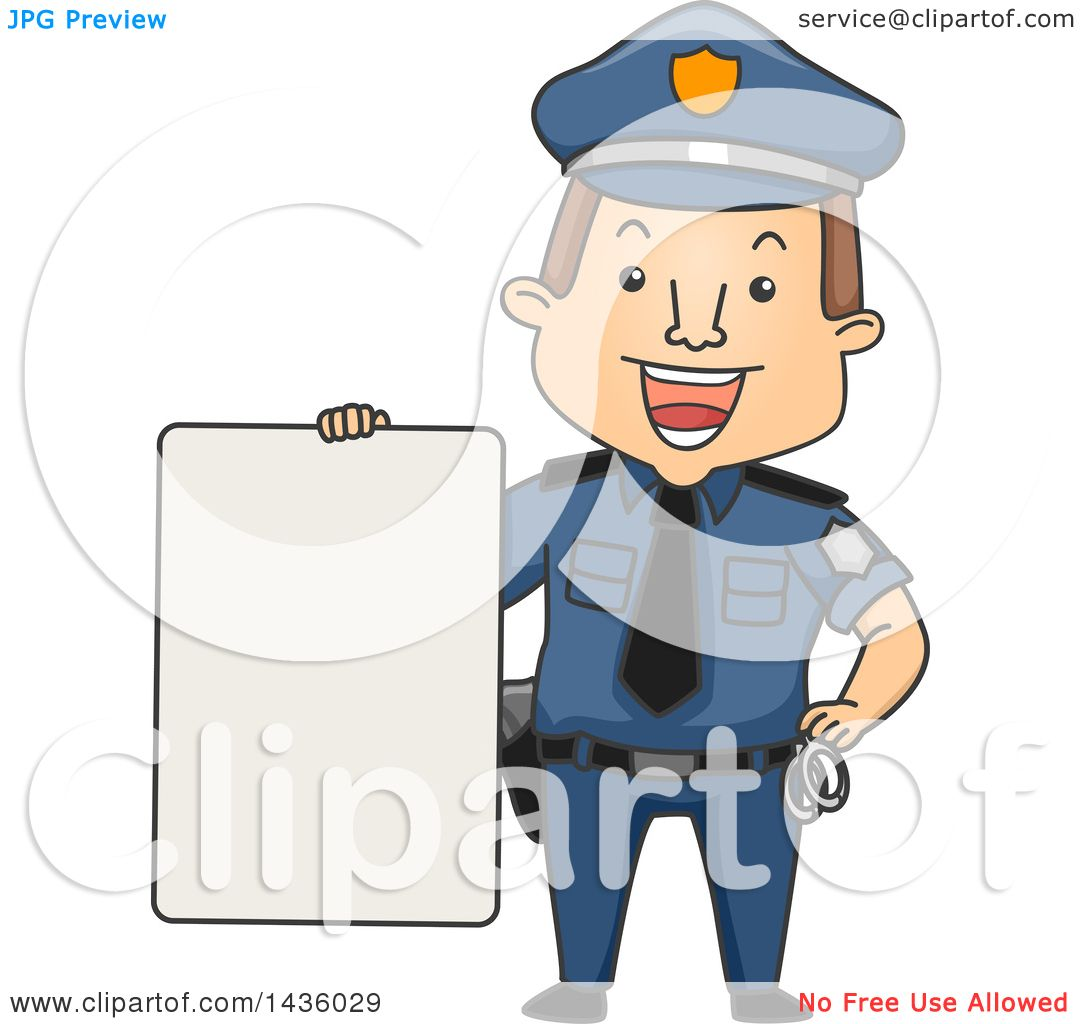 clipart of a cartoon happy brunette white male police officer