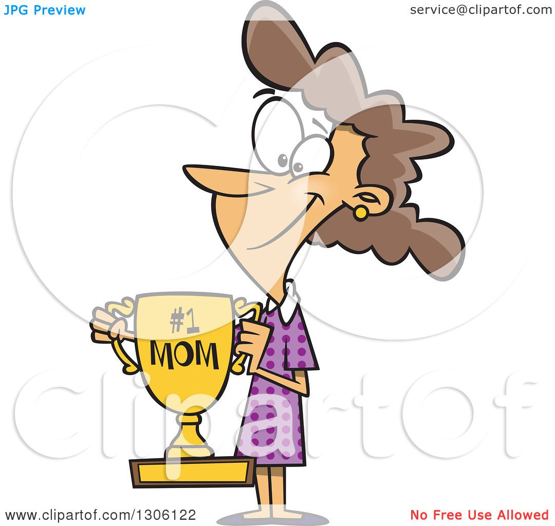 Clipart of a Cartoon Happy Brunette White Mom Holding a ...