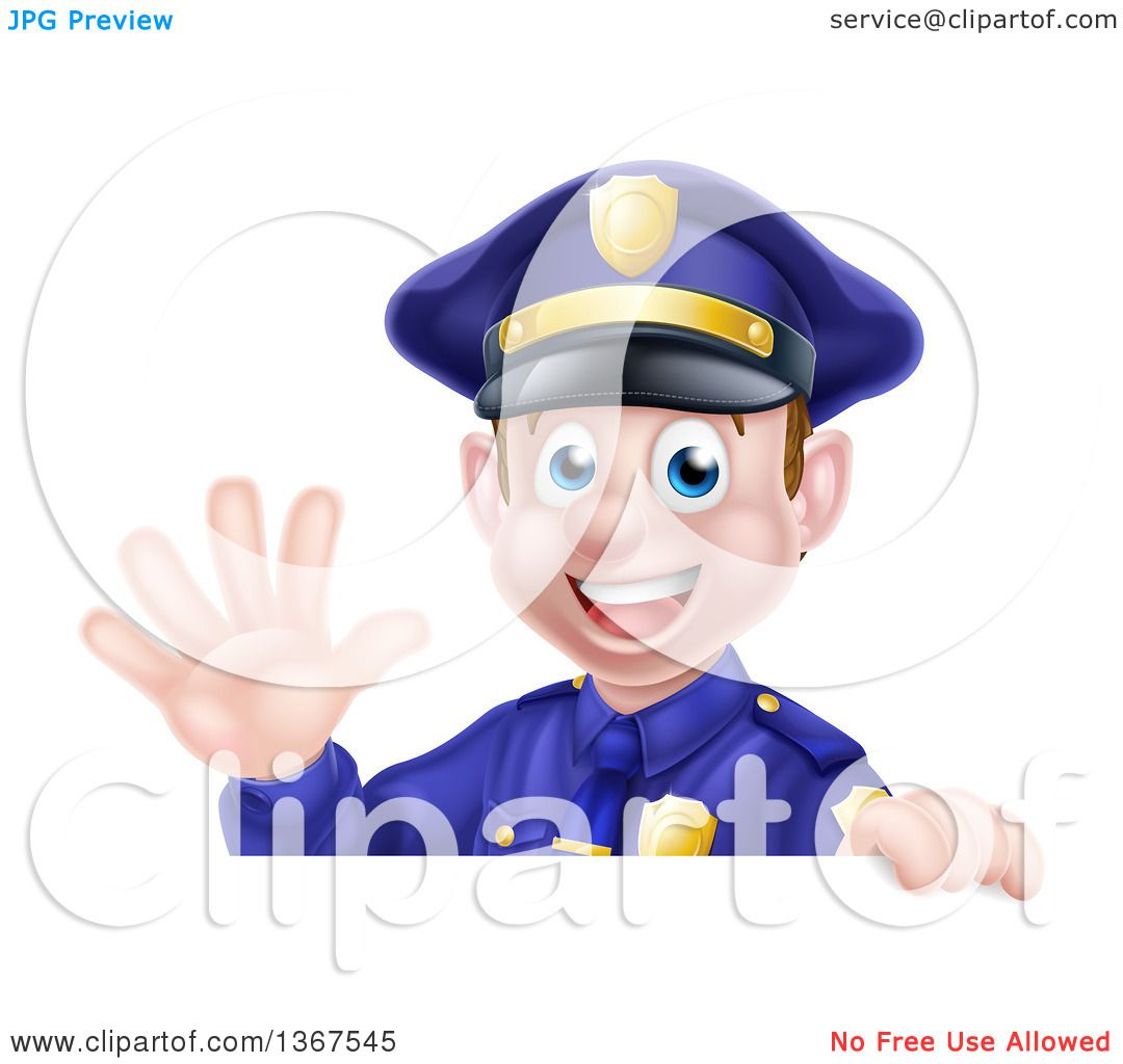 clipart of a cartoon happy caucasian male police officer waving