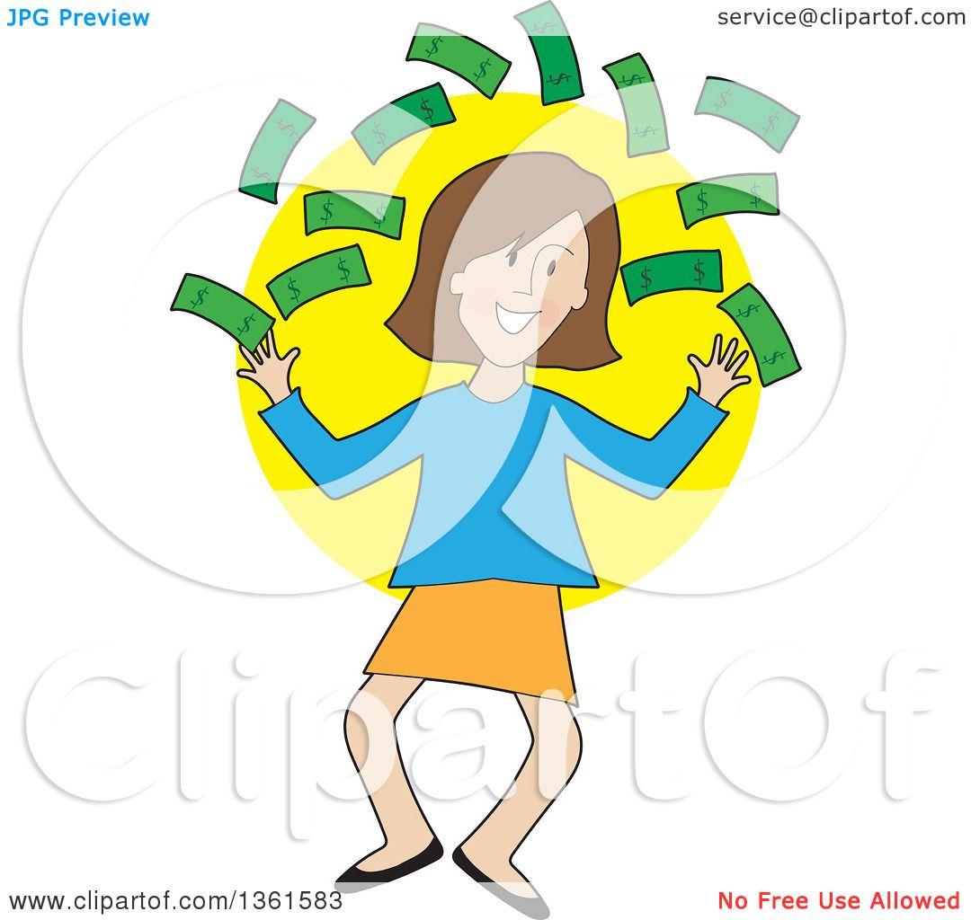 clipart of a cartoon happy caucasian woman jumping and throwing cash rh clipartof com win cash clipart Education Clip Art