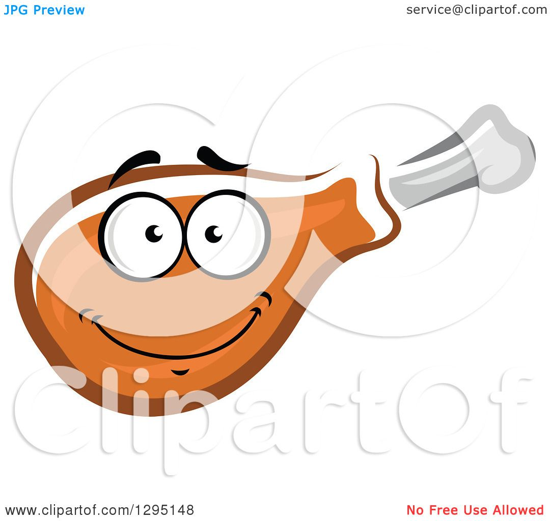 Clipart of a Cartoon Happy Chicken Drumstick Character - Royalty ...