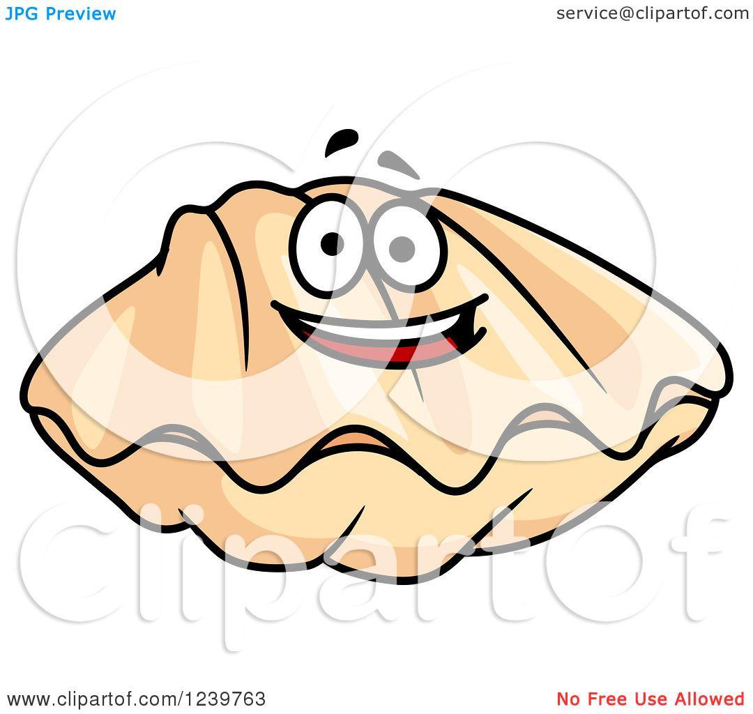 clipart of a cartoon happy clam royalty free vector illustration rh clipartof com clam clip refills medium clam clip dispenser uk