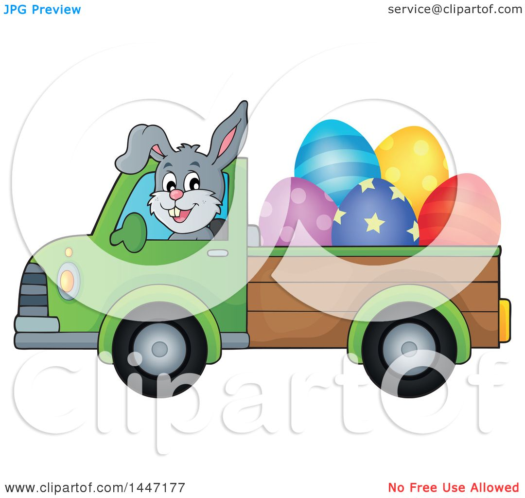 Green truck clipart royalty free rf pickup truck clipart - Clipart Of A Cartoon Happy Easter Bunny Rabbit Transporting Eggs In A Pickup Truck Royalty Free
