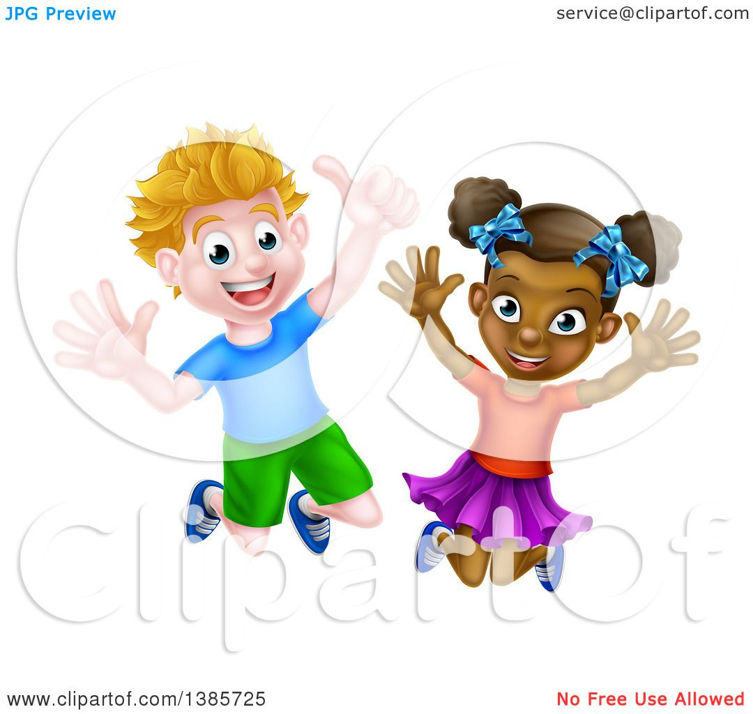 Clipart Of A Cartoon Happy Excited White Boy And Black -4912