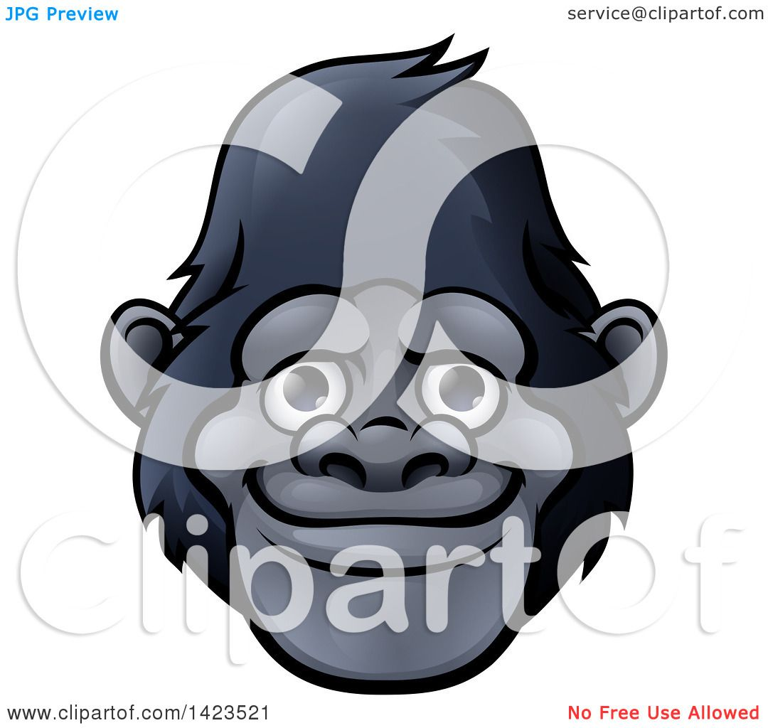 Happy Cartoon Gorilla Face Clipart of a Ca...