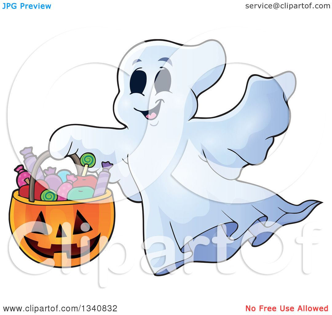 Clipart Of A Cartoon Happy Halloween Ghost With A Pumpkin