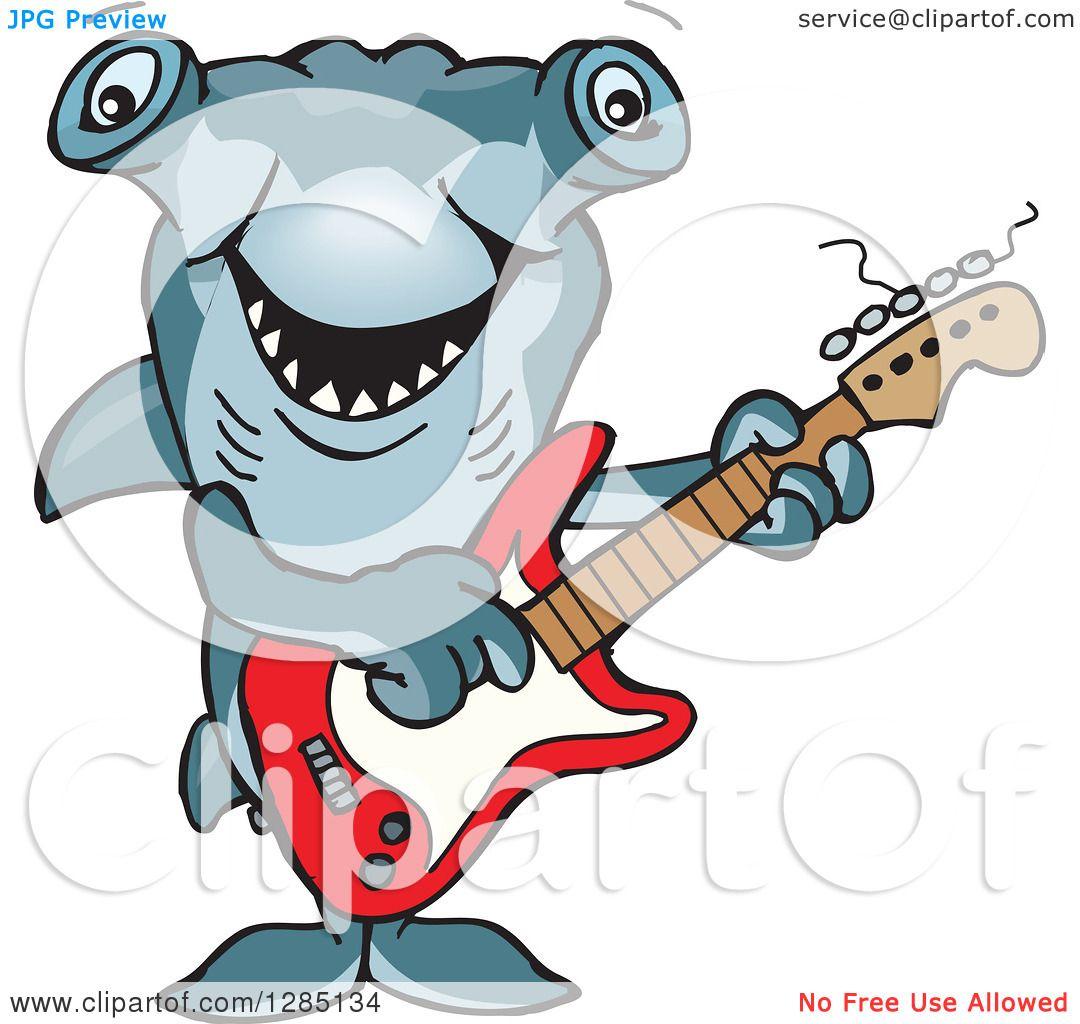 Avatar Hammerhead: Clipart Of A Cartoon Happy Hammerhead Shark Playing An