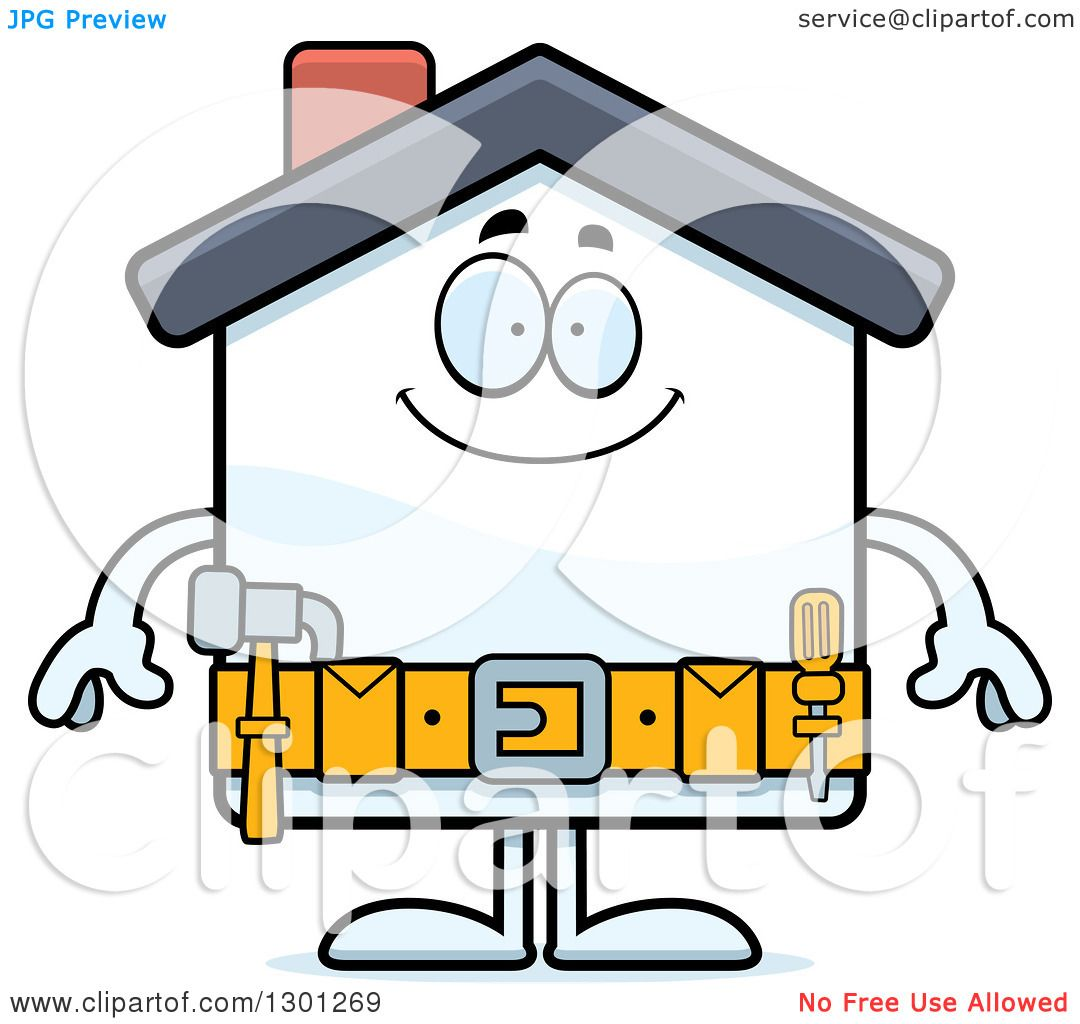 clipart of a cartoon happy home improvement house character smiling rh clipartof com  home improvement store clipart