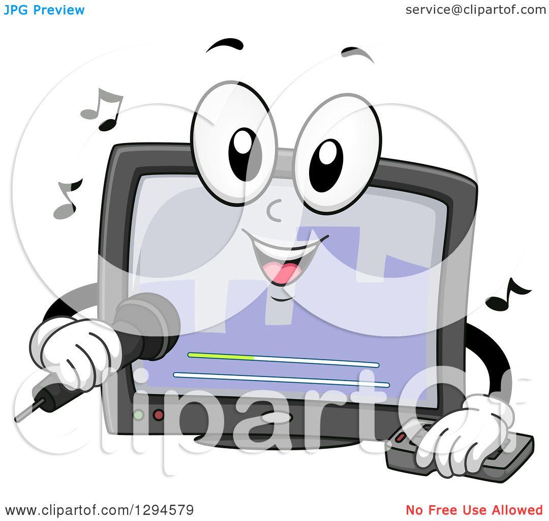 Clipart of a Cartoon Happy Karaoke Machine Singing ...