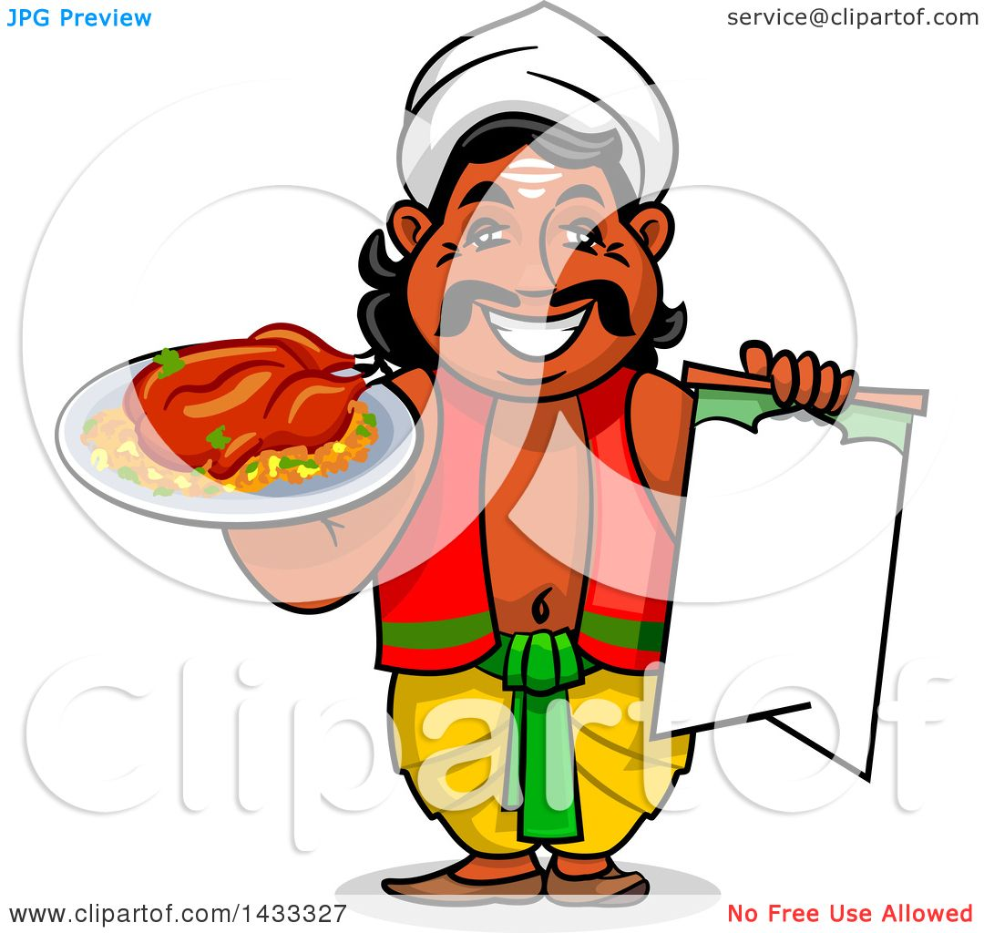 Clipart Of A Cartoon Happy Male Indian Chef Holding Blank Menu And Plate With Cooked Chicken