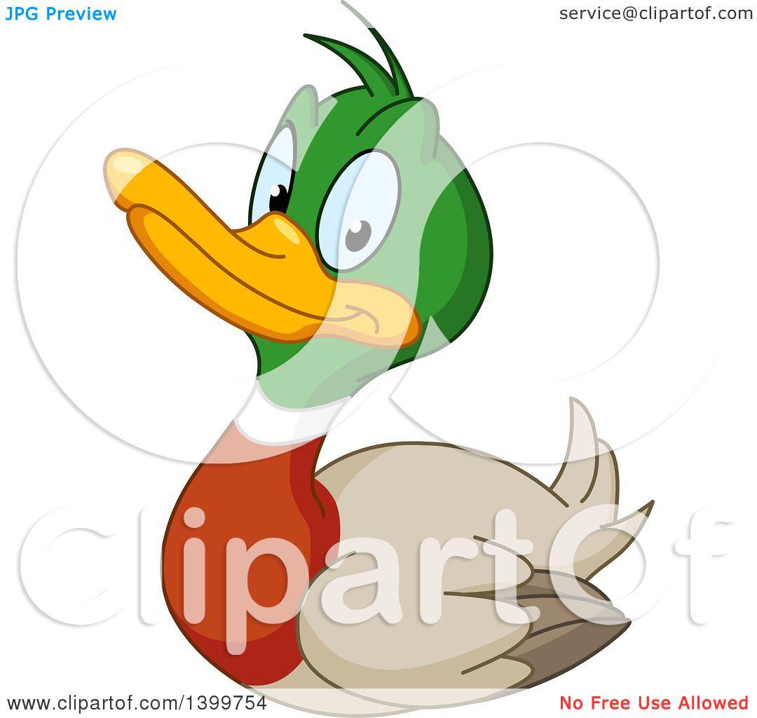 Clipart of a Cartoon Happy Mallard Drake Duck - Royalty Free Vector ...